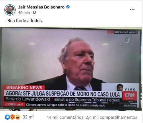 """Bolsonaro ironiza julgamento da suspeição de Moro: """"Boa tarde a todos"""""""
